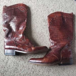 Joan & David Handmade Italy Embossed Leather Boots